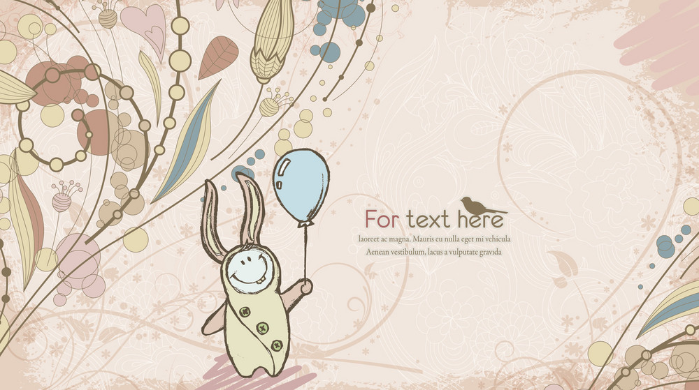 Vector Abstract Background With Cute Little Boy