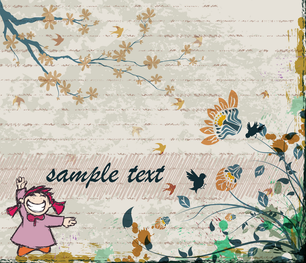 Vector Abstract Background With Cute Little Girl