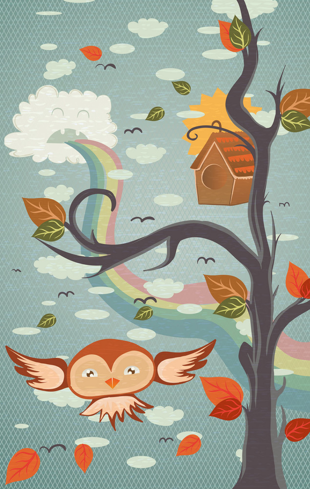 Vector Abstract Background With Funny Bird