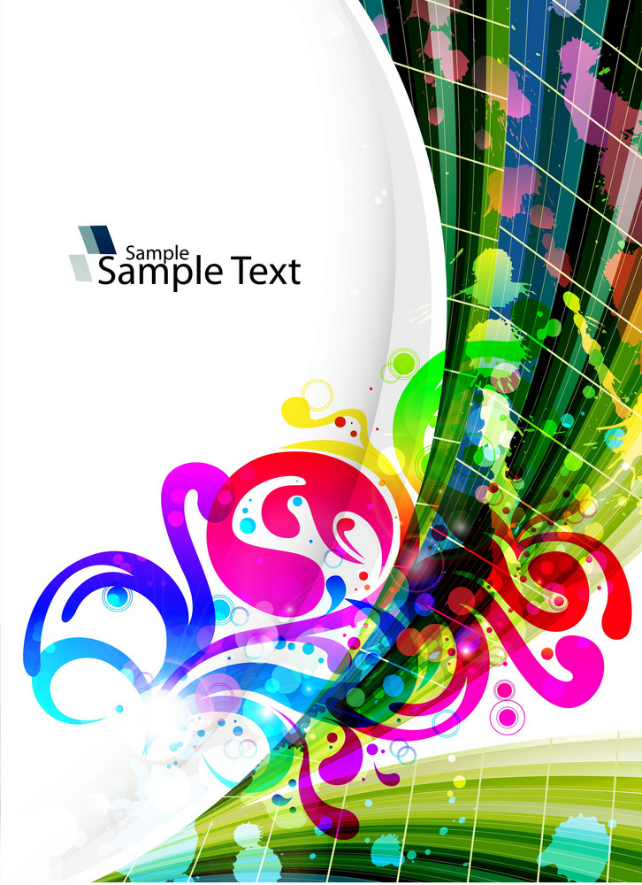 Vector Abstract Background With Waves And Splattern