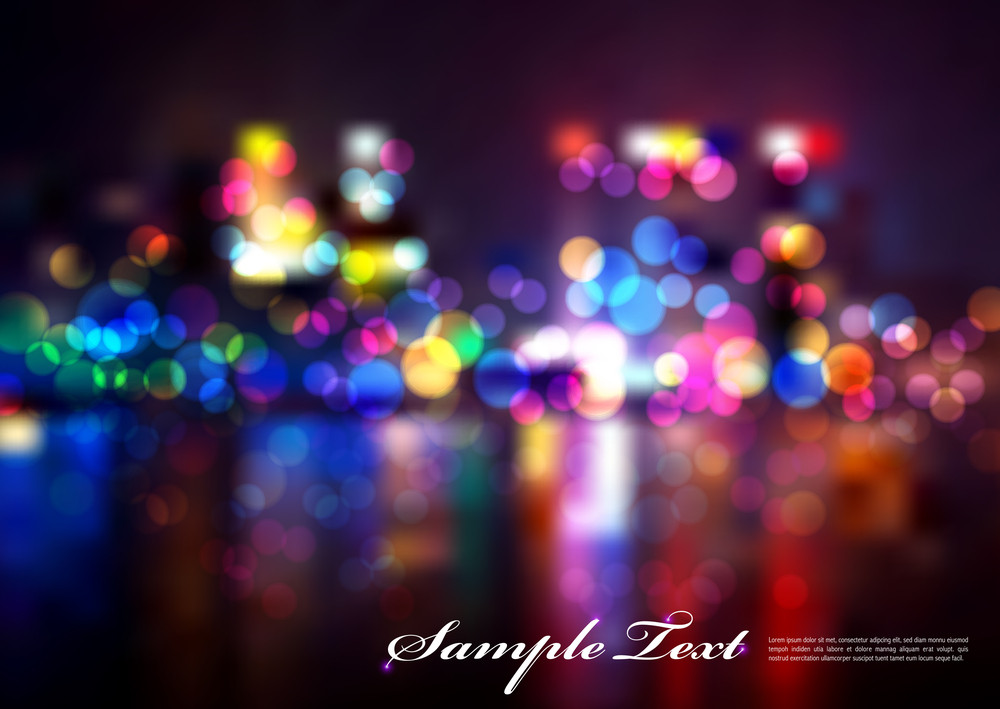 Vector Abstract Colourful Blurry City Lights