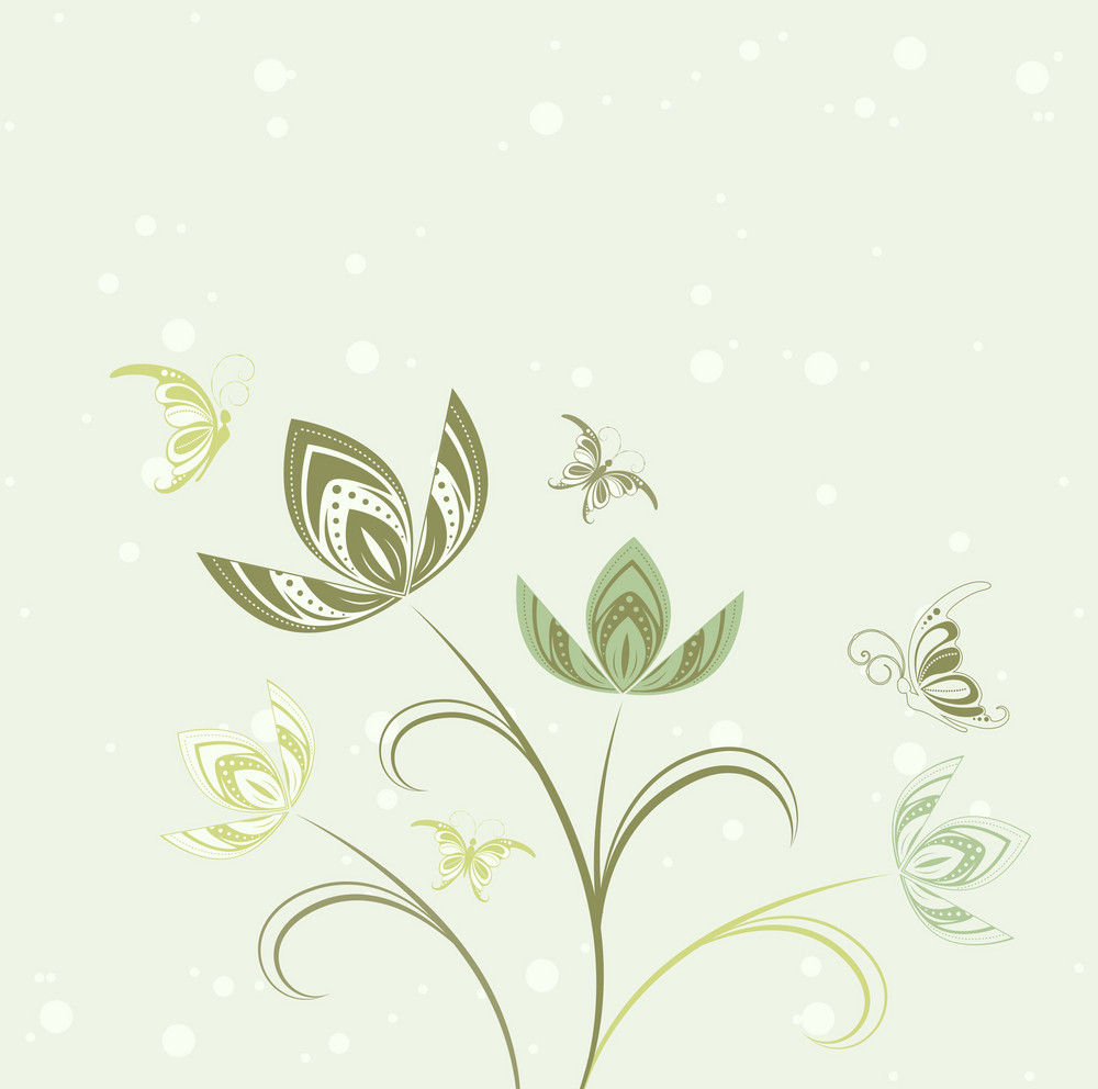 Vector Abstract Floral Background With Butterflies