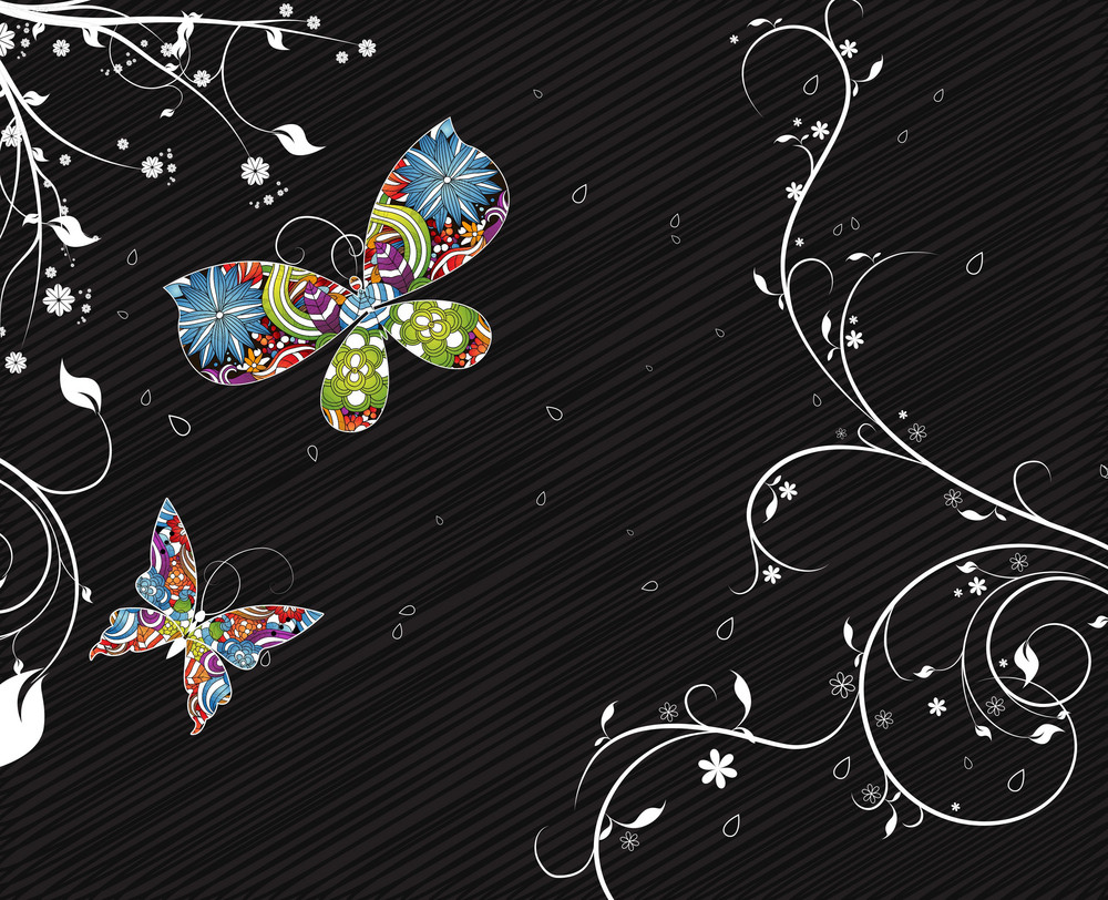 Vector Abstract Floral Background With Colorful Butterflies