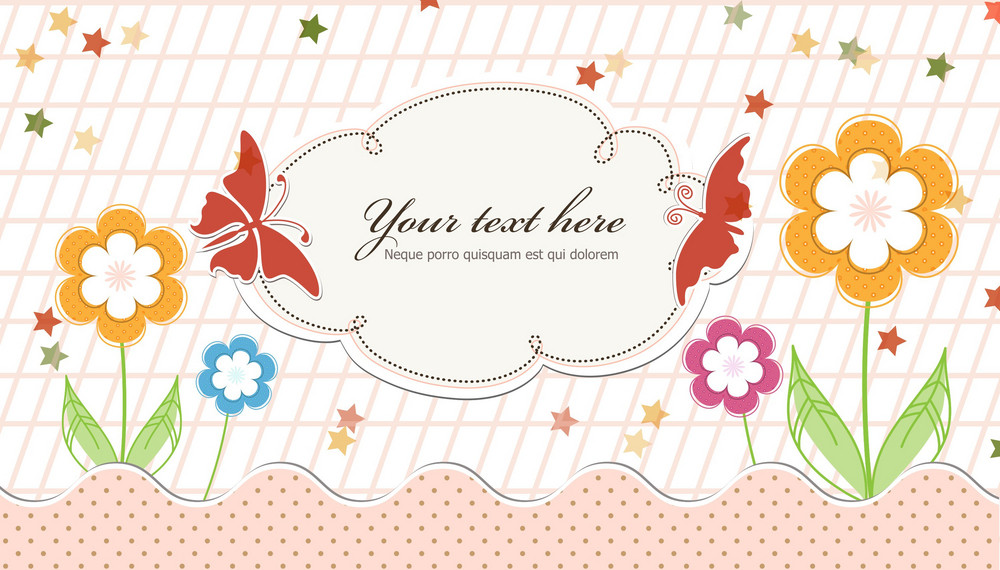 Vector Abstract Frame With Butterflies