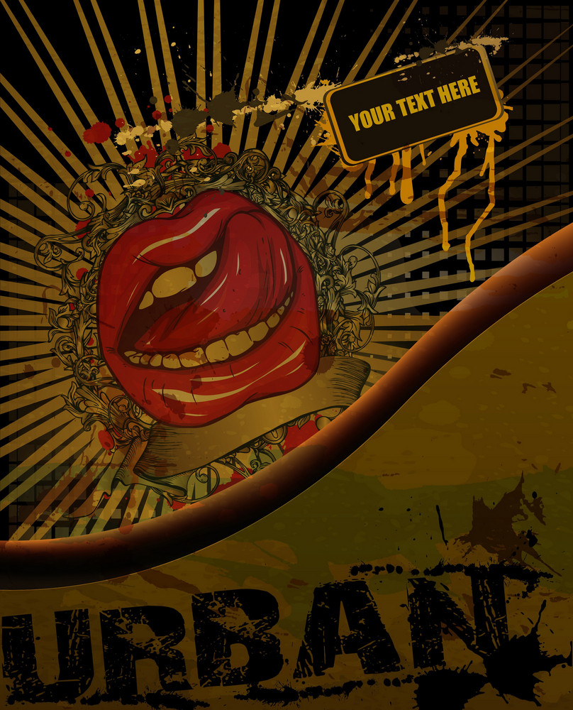 Vector Abstract Mouth With Grunge Background
