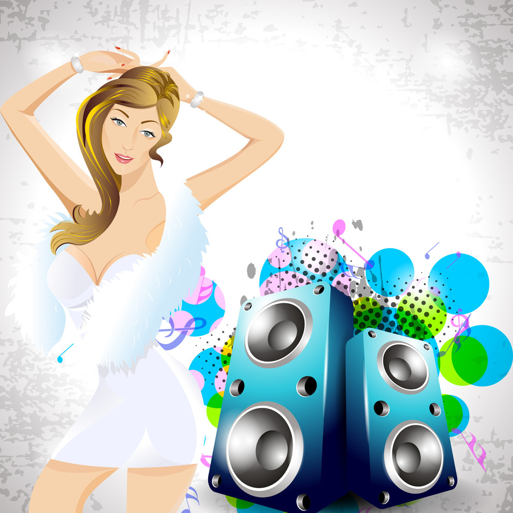 Vector Abstract Music Background For Discoteque Or Party Having Sexy Dancing Girl With Abstract Background10