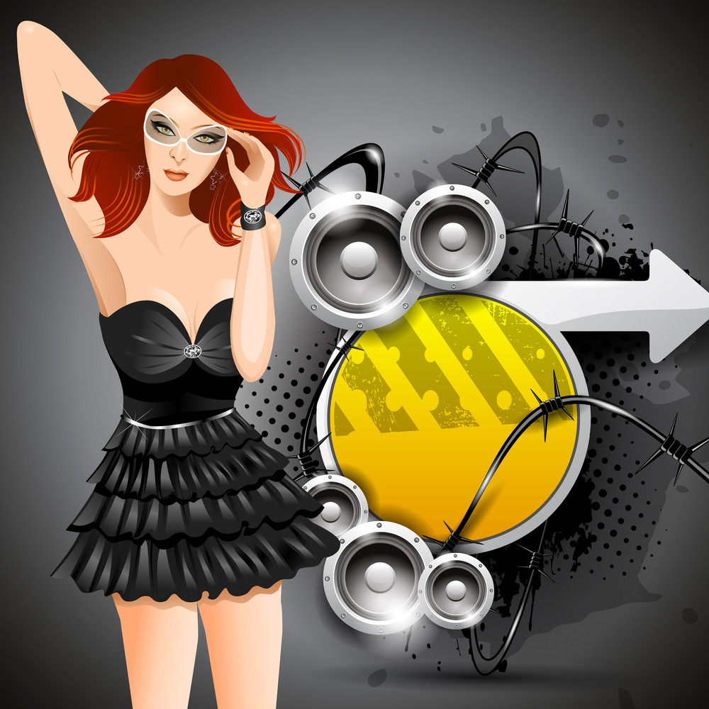 Vector Abstract Retro Music Banner For Event Having Modern Sexy Girl With Grunge Abstract Background10