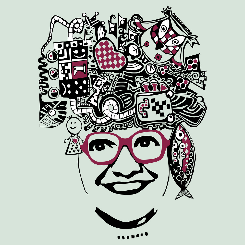 Vector Abstract Smiling Woman In Glasses