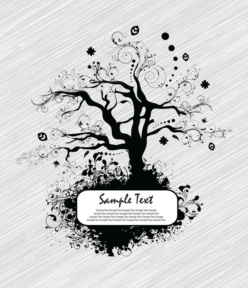 Vector Abstract Tree With Grunge