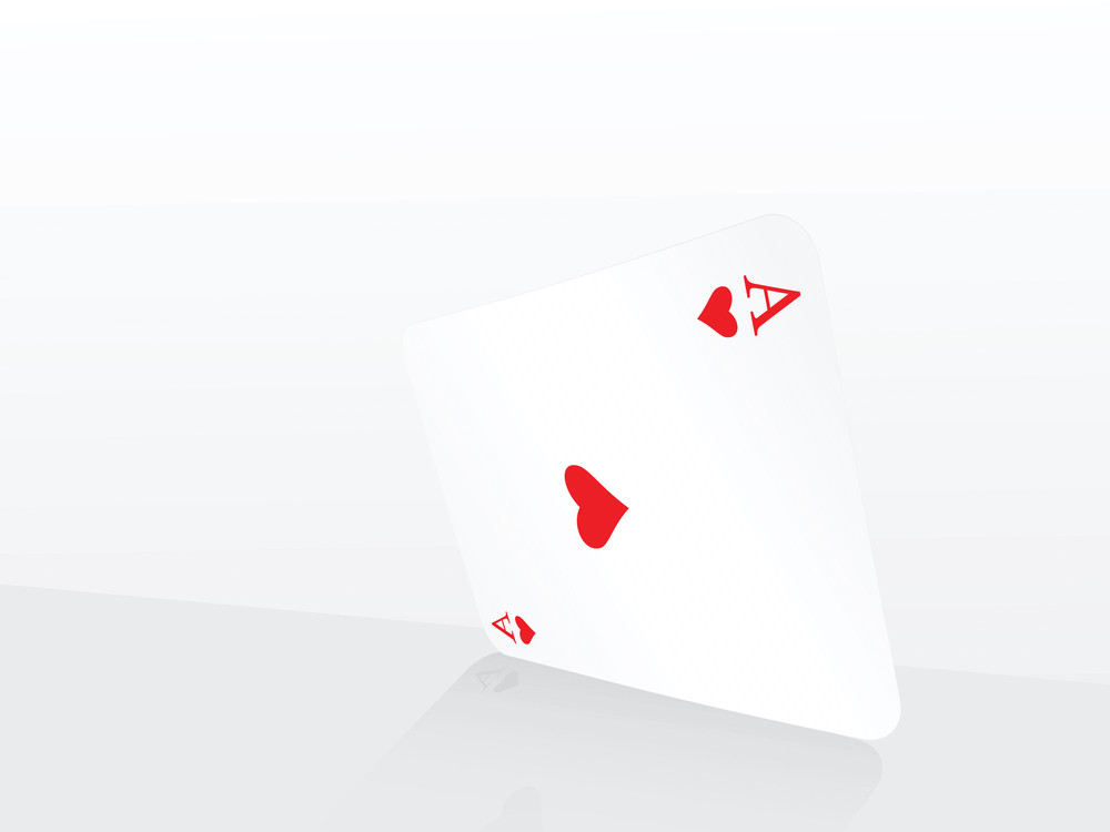 Vector Ace Of Heart On Abstract Playing Card Background
