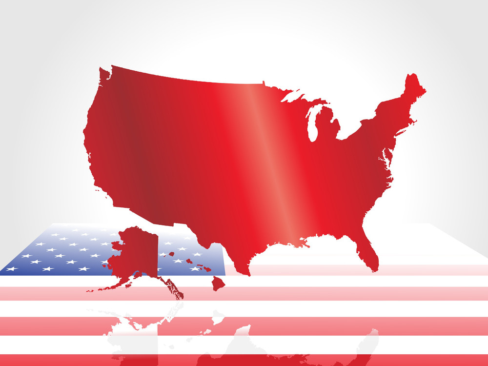 Vector America Flag Map