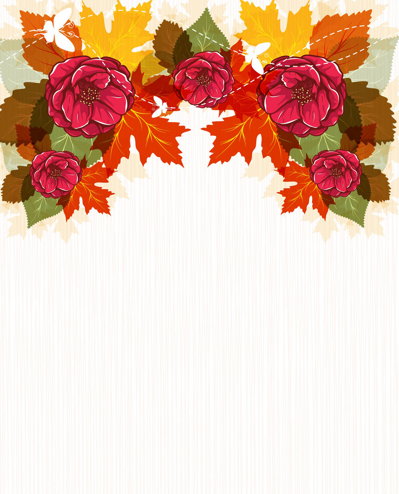 Vector Autumn Floral Background Royalty Free Stock Image Storyblocks