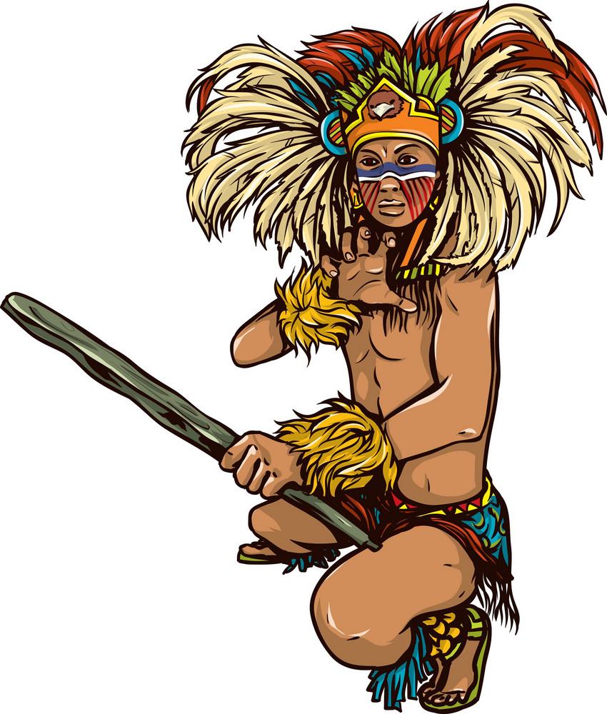 Vector Aztec Warrior