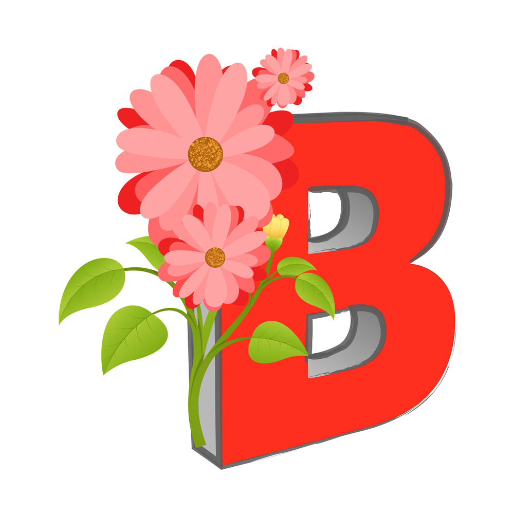 Vector B Alphabet With Flower