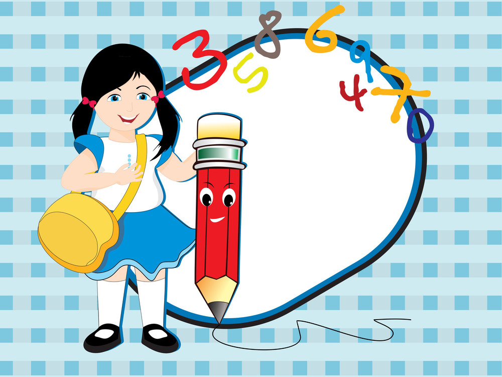Vector Background With Girl Holding Pencil