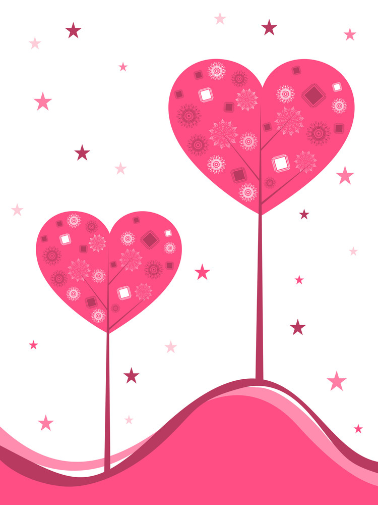 Vector Background With Heart-shaped Tree And Space For Your Text.