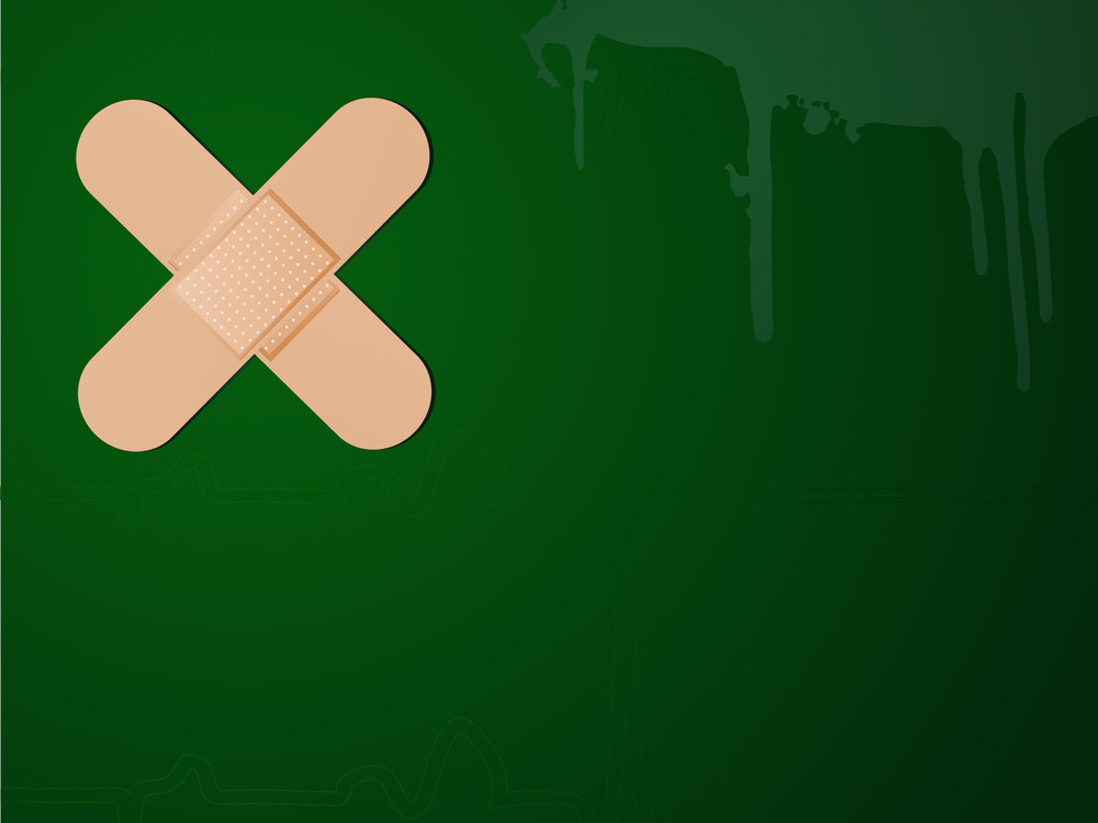 Vector Bandages Forming A Cross On Green Background.