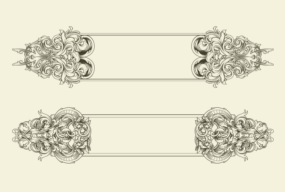 Vector Baroque Floral Frames Set