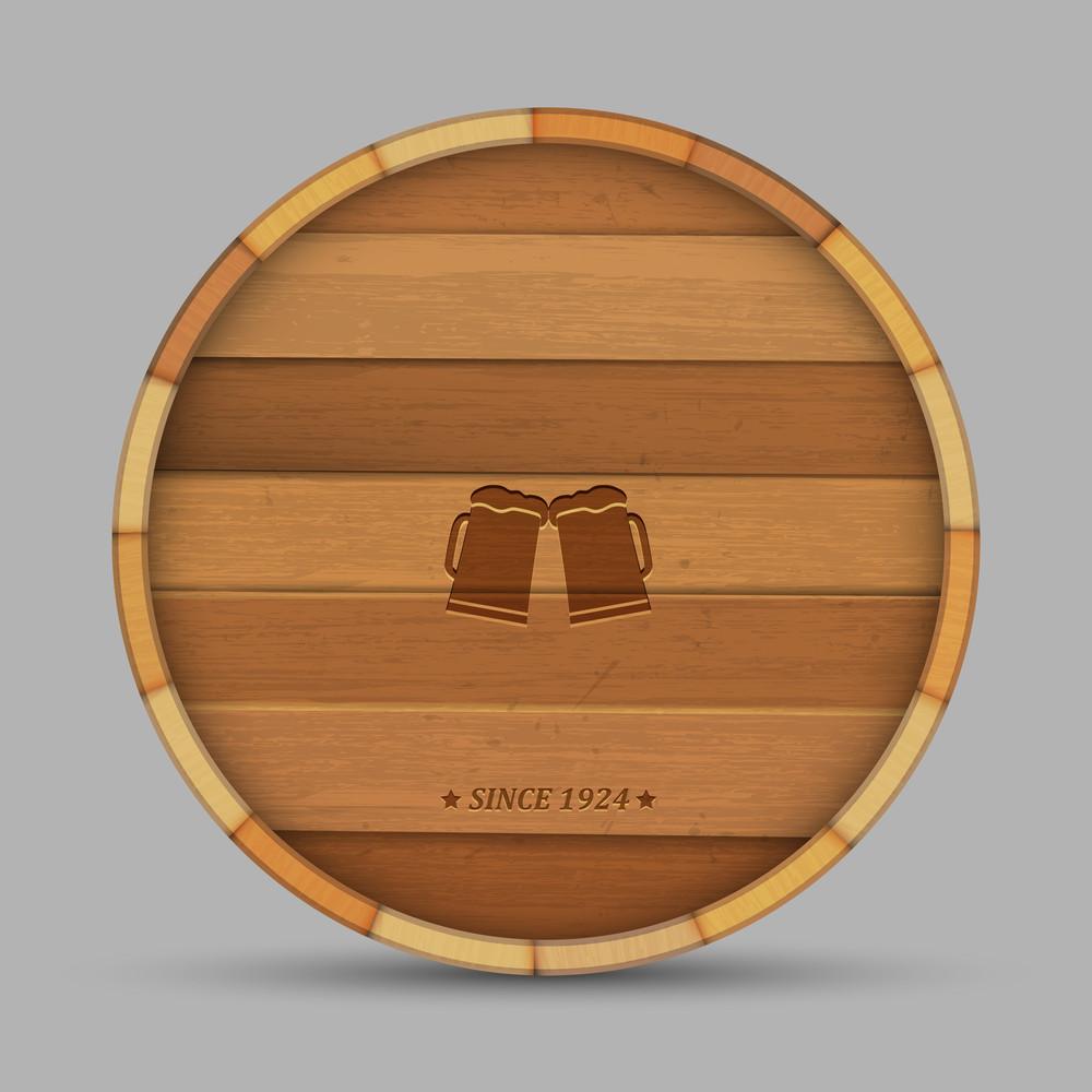 Vector Beer Label In Form Wooden Barrel