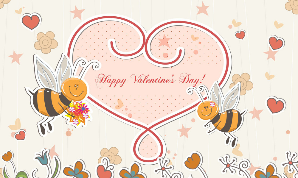 Vector Bees With Hearts