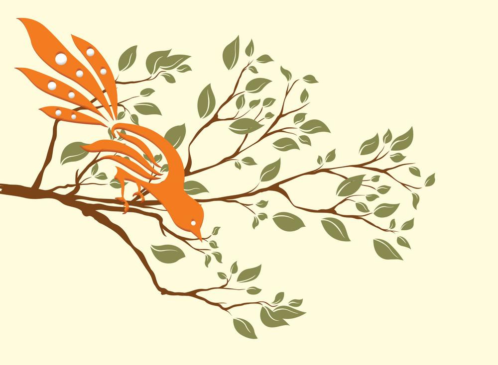 Vector Bird On A Branch