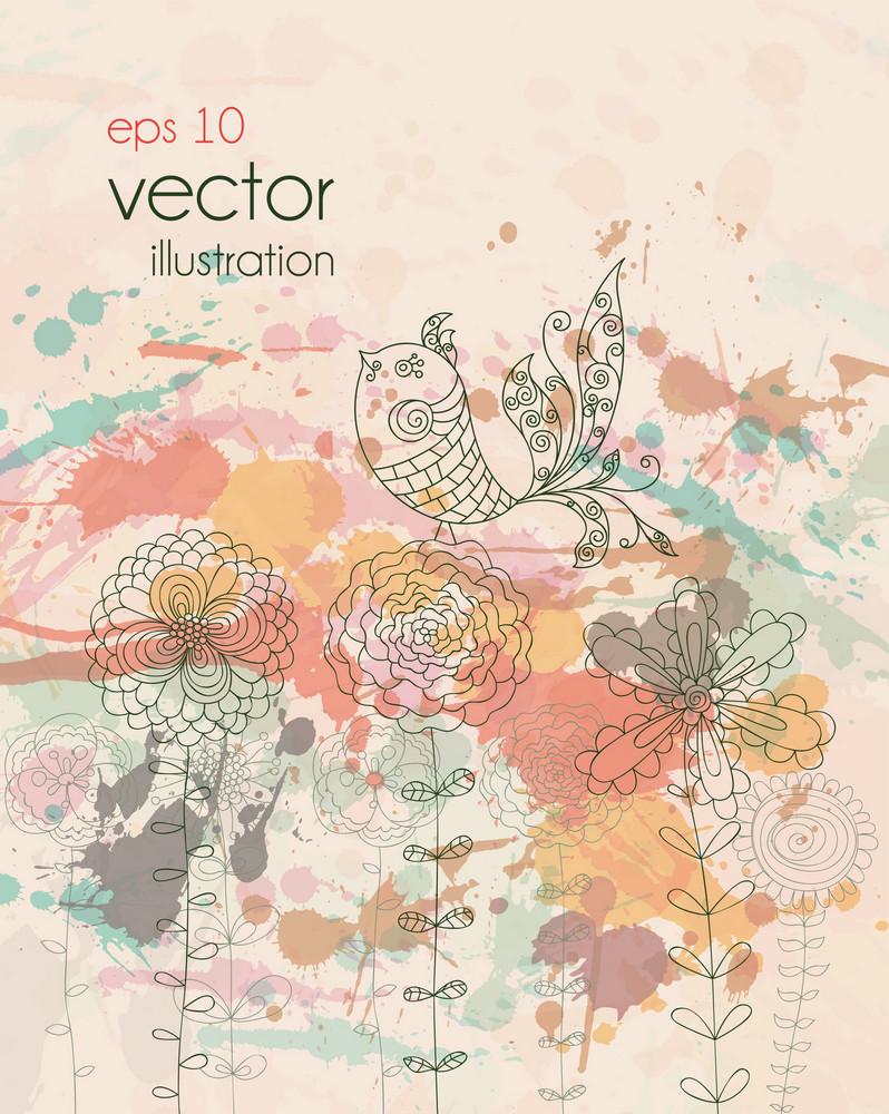 Vector Bird On Floral