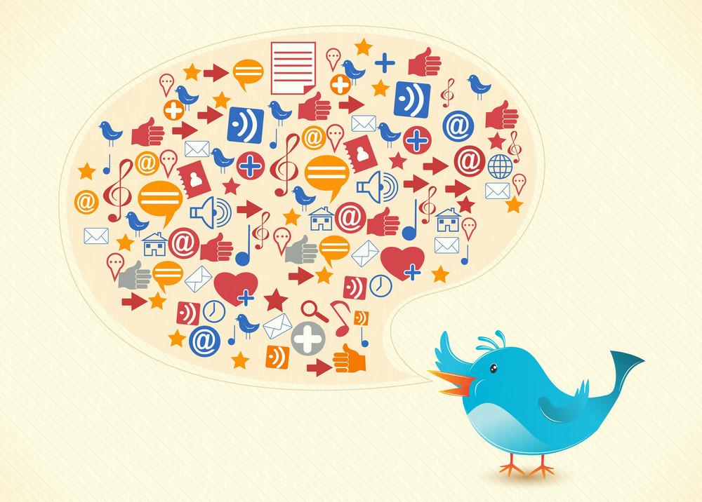 Vector Bird With Social Icons
