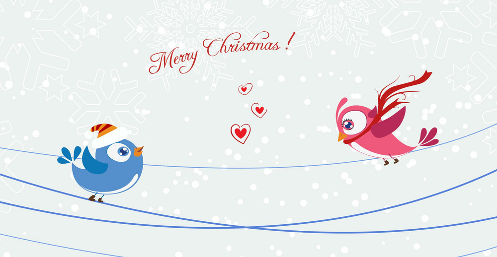 Vector Birds With Snowflakes