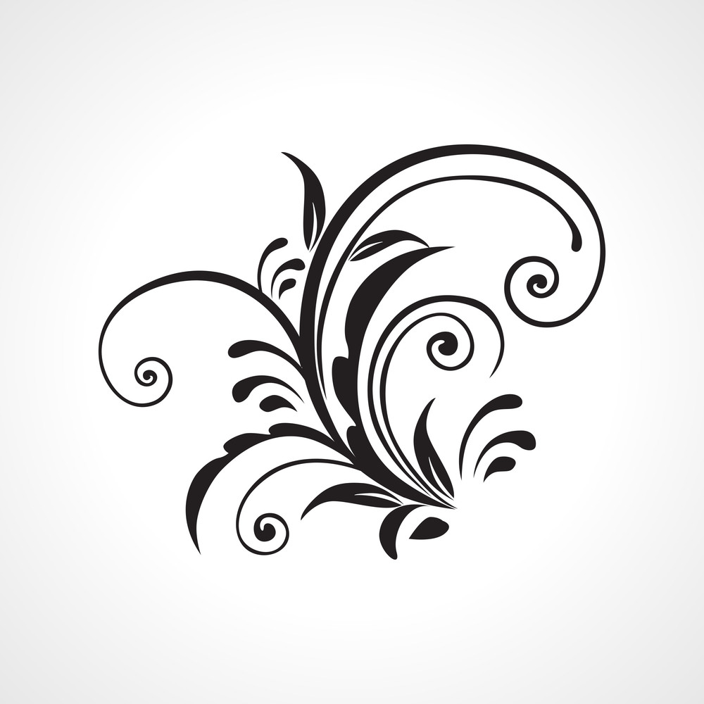 Vector Black Floral Pattern Tattoo