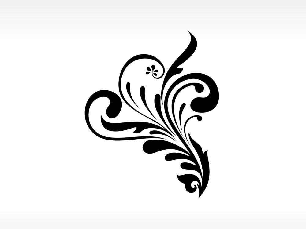 Vector Black Floral Tattoo