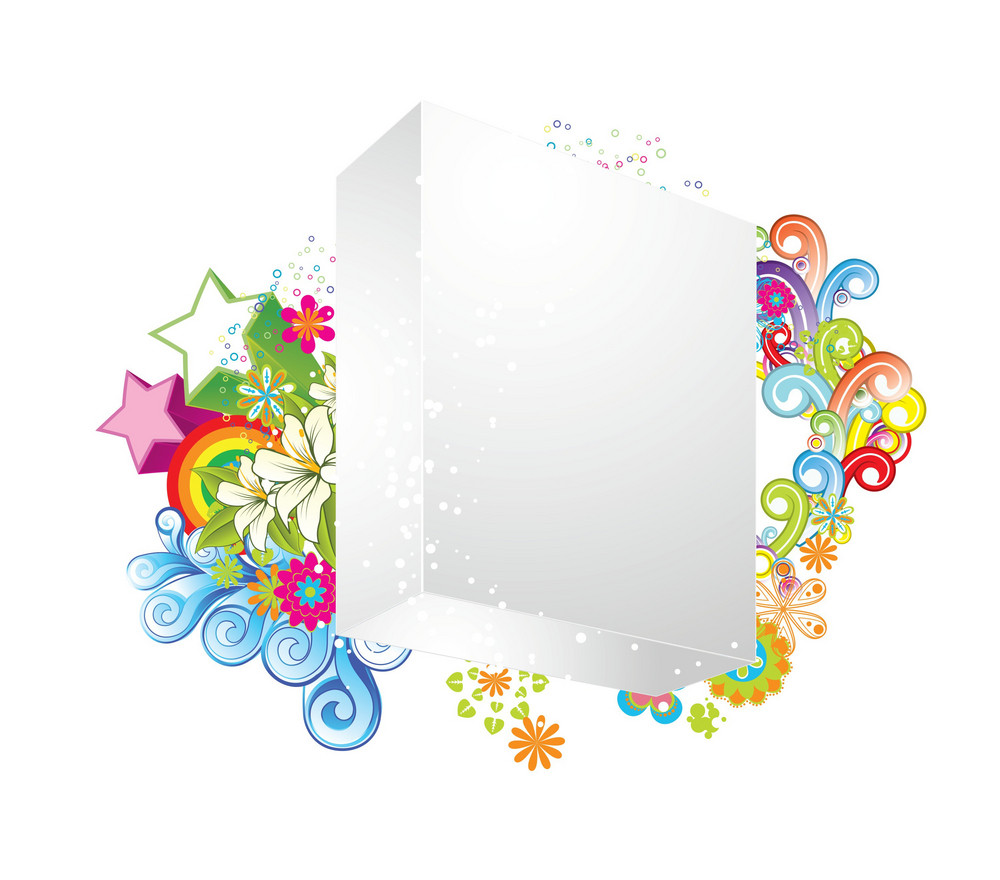 Vector Blank 3d Box With Floral