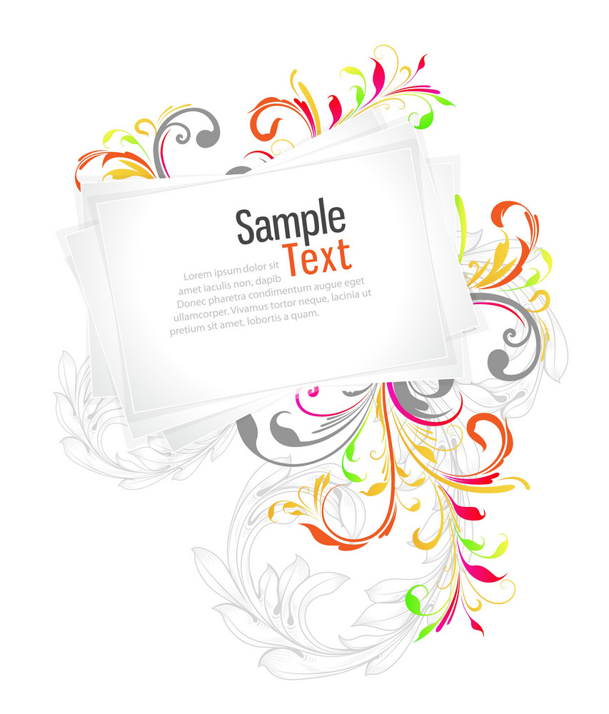 Vector Blank Paper Sheets With Floral
