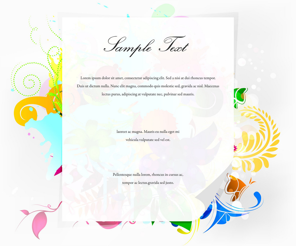 Vector Blank Paper With Floral