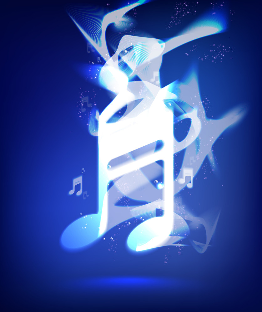 Vector Blue Ink Melody Musical Note