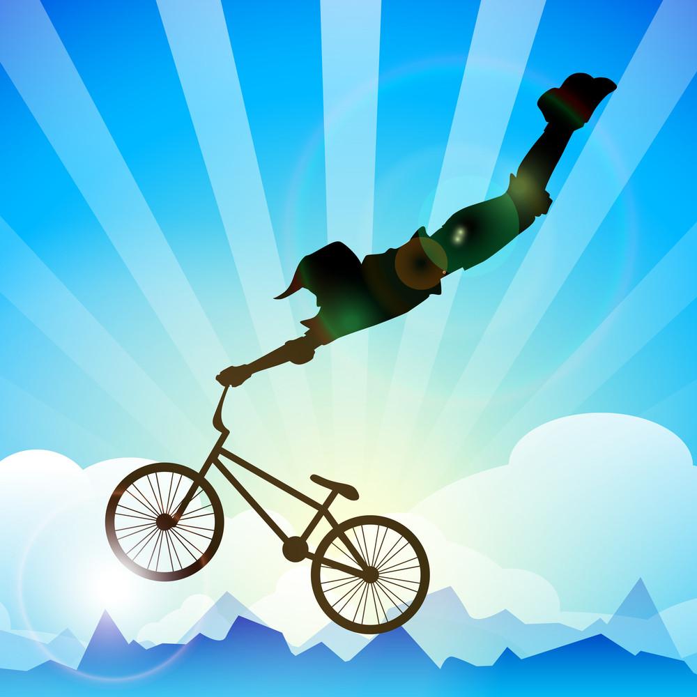 Vector Bmx Cyclist Performing Stunt