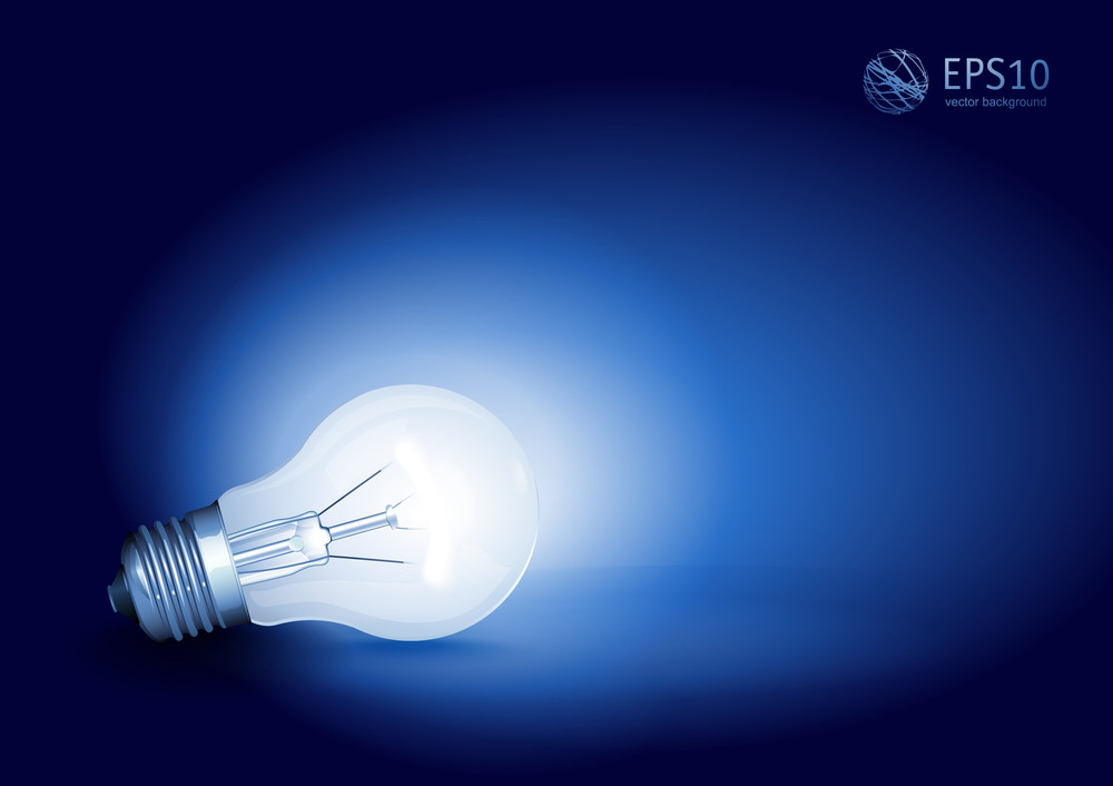 Vector Bright Light Bulb On Blue Background.