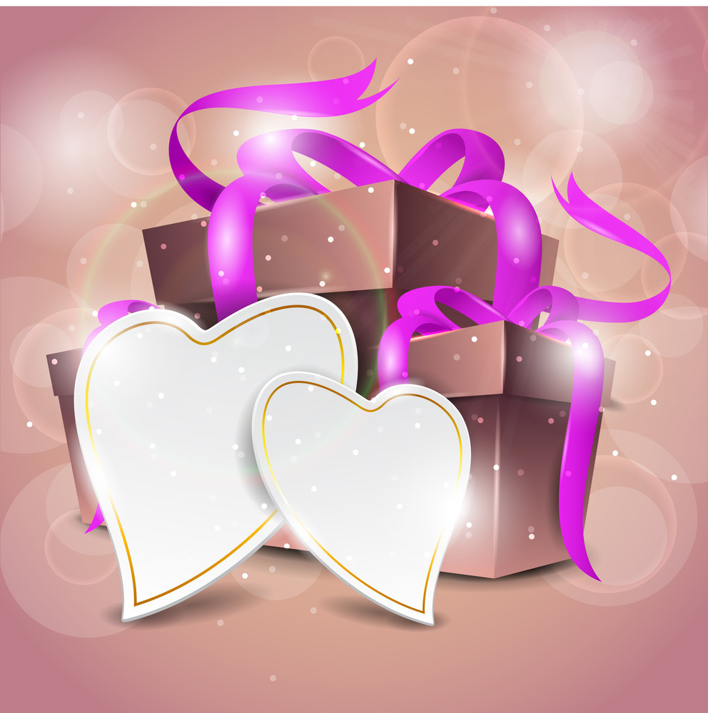 Vector Brown Gift Box With Pink Bow On Vector Background