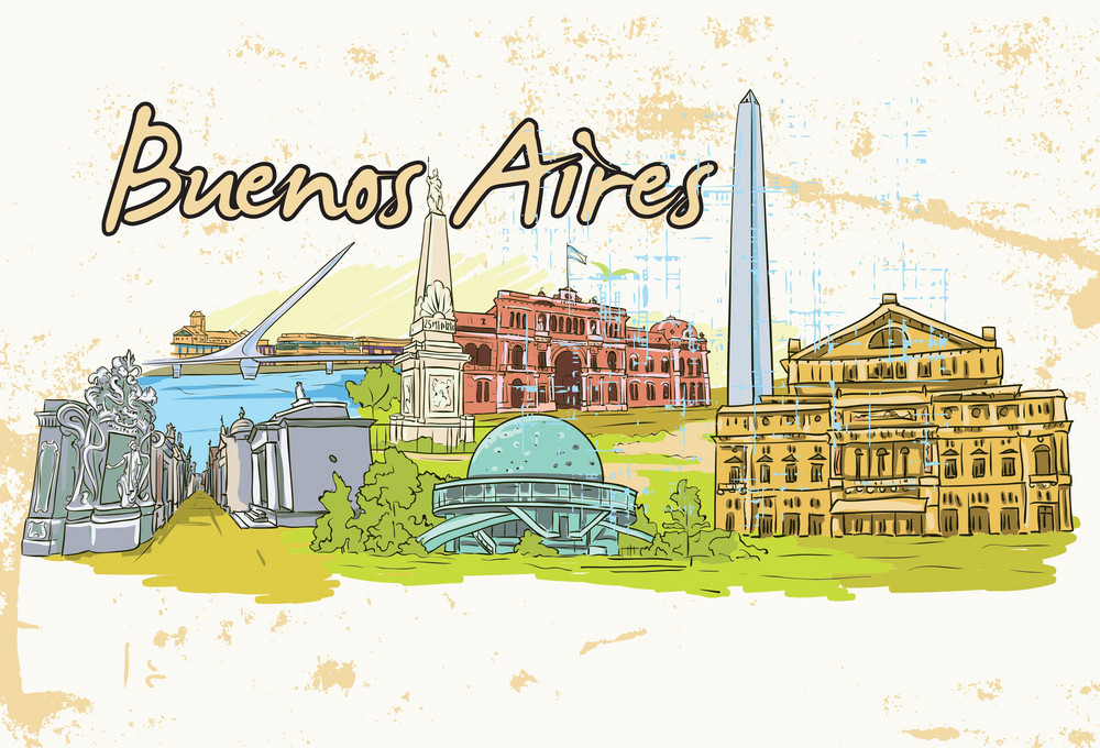 Vector Buenos Aires Doodles With Grunge Background
