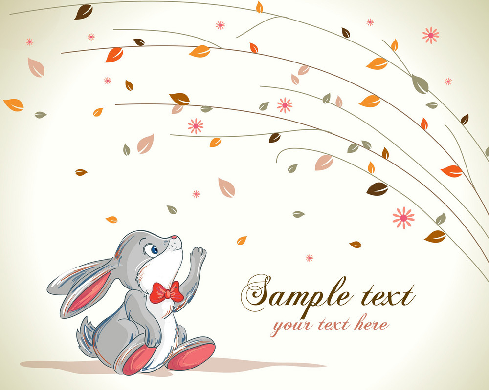 Vector Bunny With Floral Background