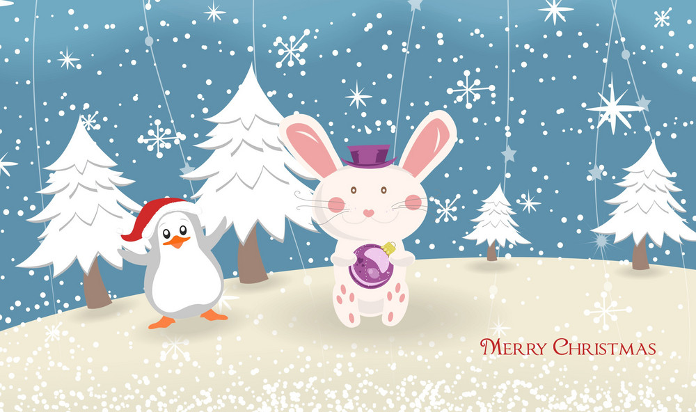 Vector Bunny With Penguin