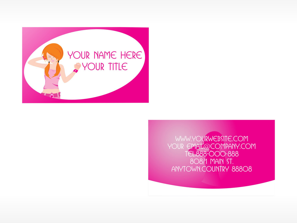 Vector Business Card With Lady Set_2