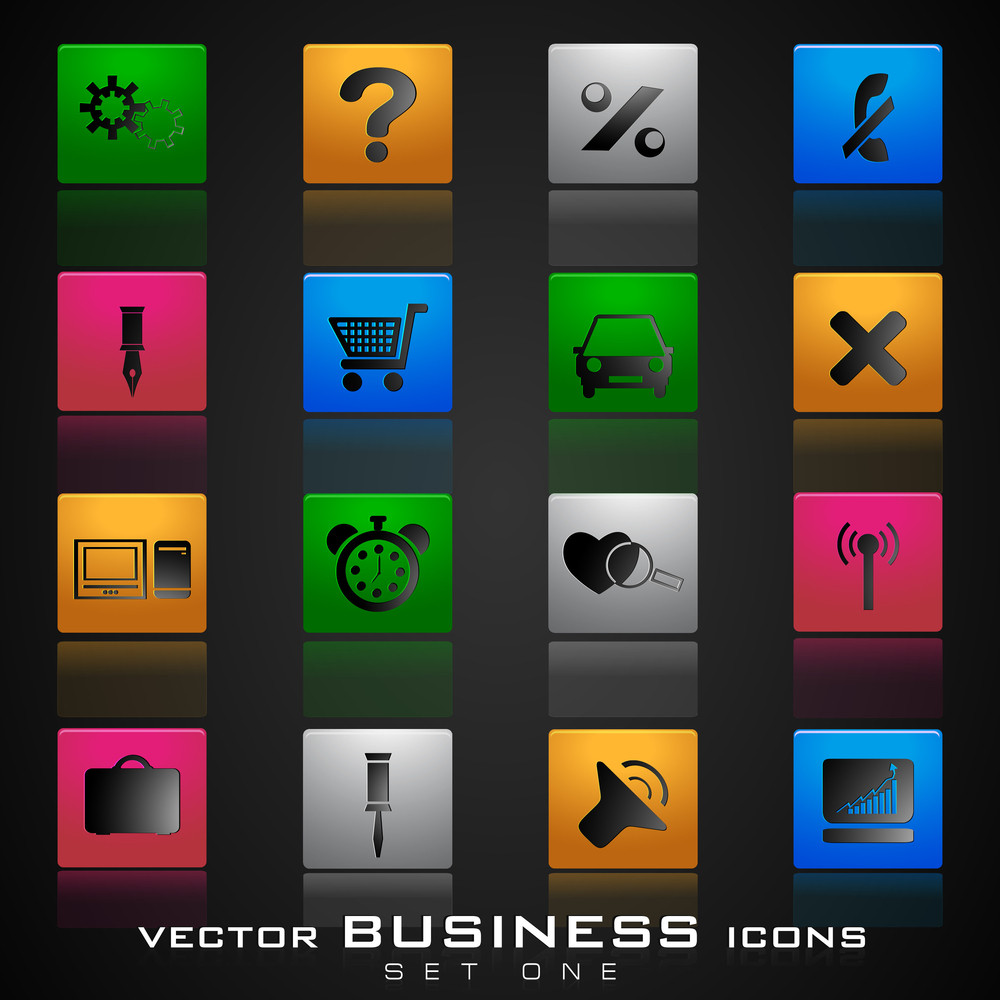 Vector Business Icon Set On Grey Background.