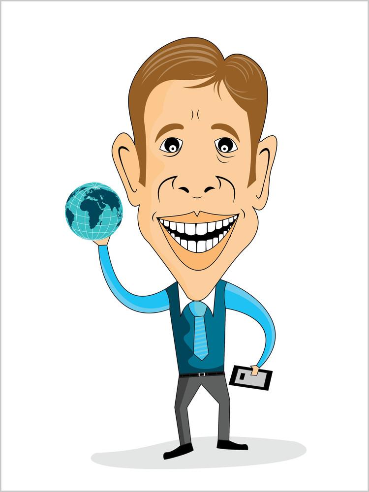 Vector Businessman Holding Globe