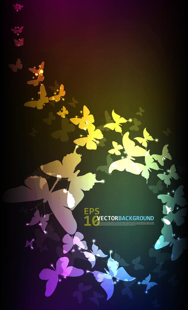 Vector Butterflies Glowing In The Dark