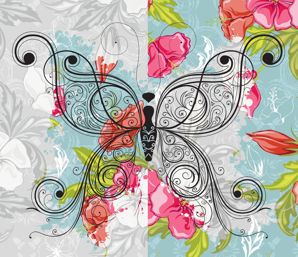 Vector Butterfly Made Of Floral