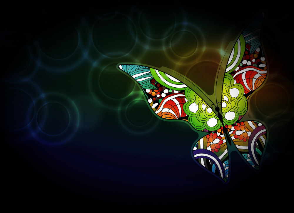 Vector Butterfly With Bokeh Background