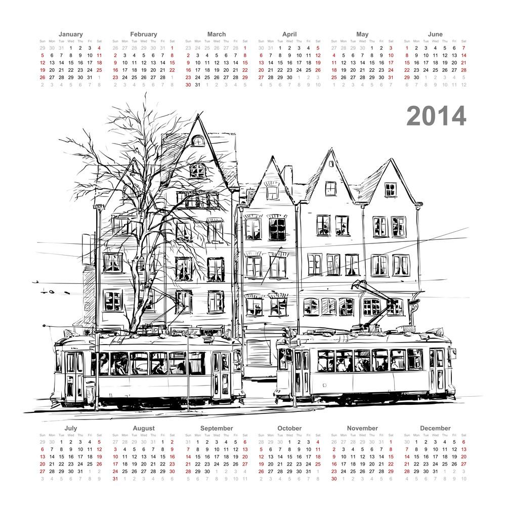 Vector Calendar 2014 With Train Illustration.