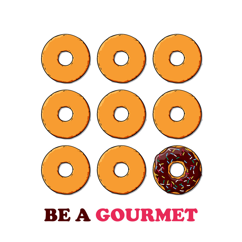 Vector Card With Donuts And Text.