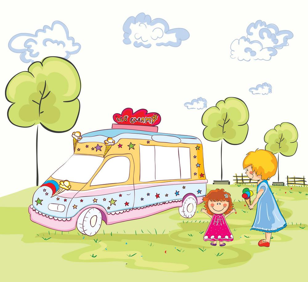 Vector Cartoon Background With Ice Cream Van