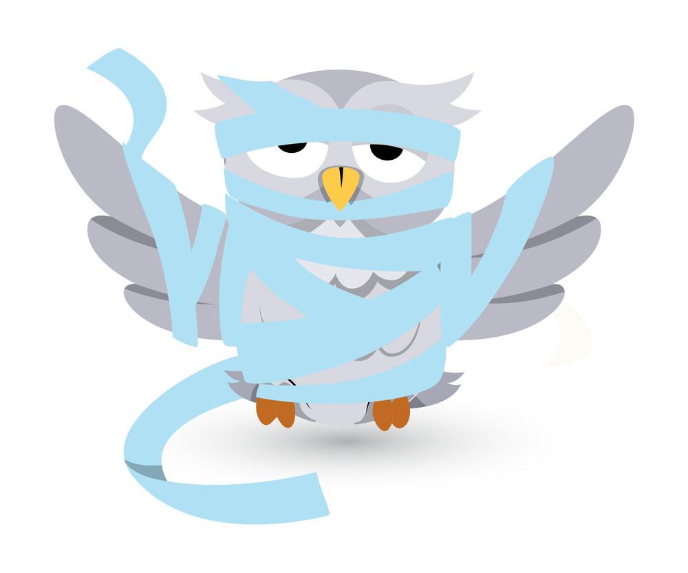 Vector Cartoon Owl Stucked In Bandages